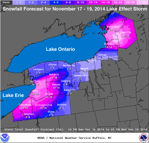 Lake Effect Snow Total Nov 2014