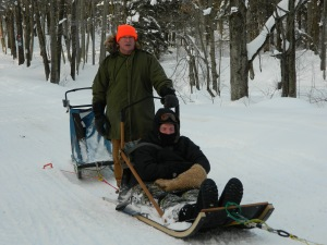 Steve and I dog sledding