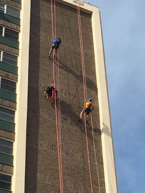 Rappelling down Midtown Towers
